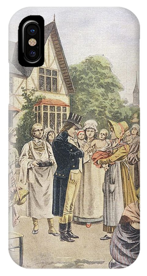 Jenner IPhone X Case featuring the drawing Edward Jenner Carries Out His First by Mary Evans Picture Library