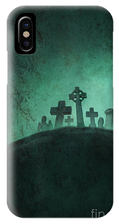 Grave IPhone X Case featuring the photograph Eerie Graveyard At Night In Fog by Lee Avison