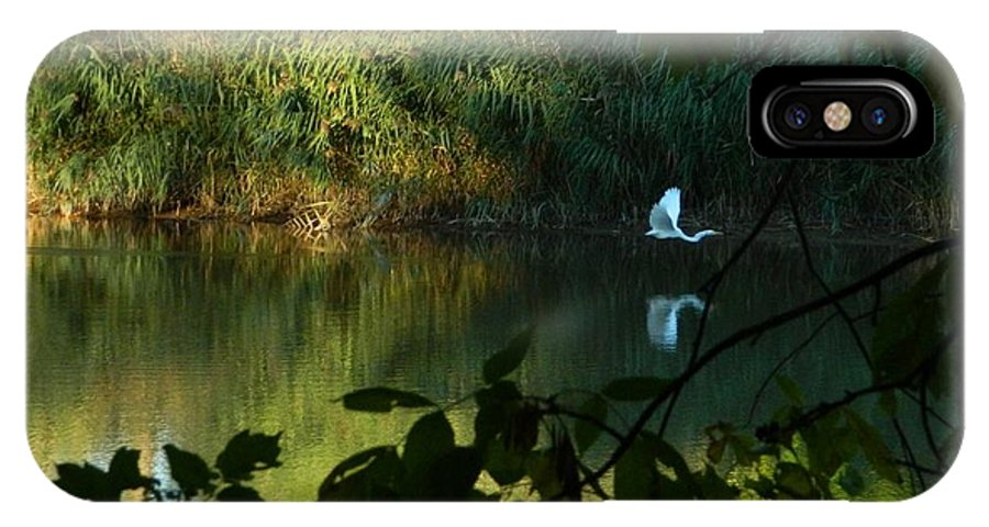 Egret IPhone X Case featuring the photograph Egret Over The East River by Terri Waselchuk