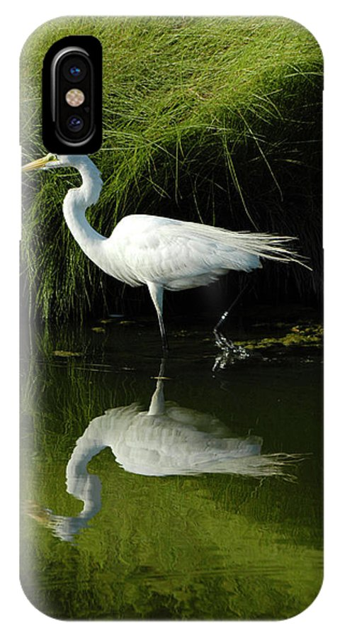 Great Egret IPhone X Case featuring the photograph Egret Reflections by Lara Ellis