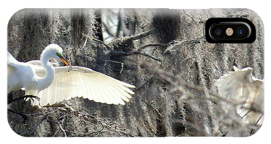 Egrets IPhone X / XS Case featuring the photograph Egrets In Flight by Vicki Genna