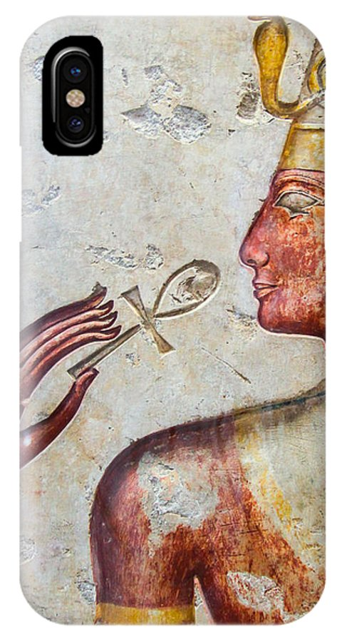 Hand IPhone X / XS Case featuring the photograph Egyptian Hand With Ankh by Ross Henton