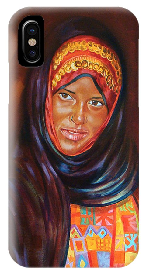 Portrait IPhone X / XS Case featuring the painting Egyptian Nubian Girl by Ahmed Bayomi