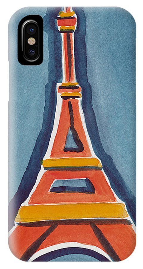 Effel Tower IPhone X Case featuring the painting Eiffel Tower Orange Blue by Robyn Saunders