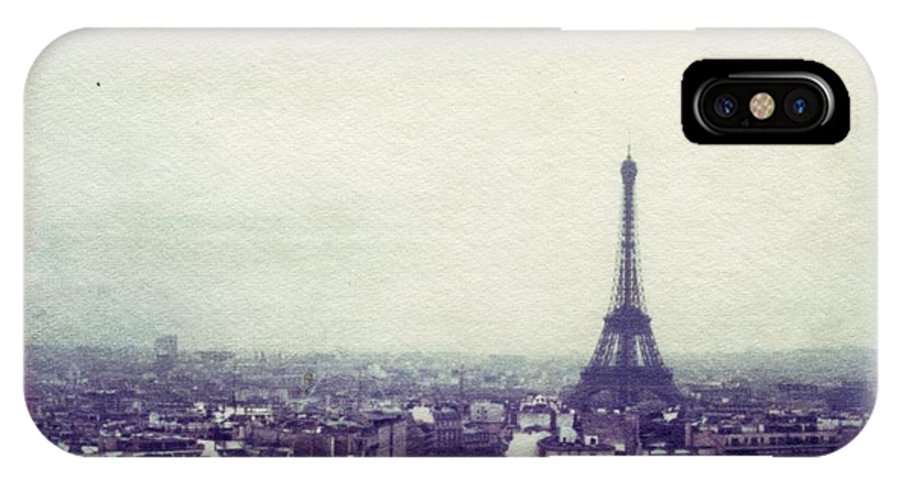 Eiffel Tower IPhone X Case featuring the photograph Eiffel Tower Paris Polaroid transfer by Jane Linders