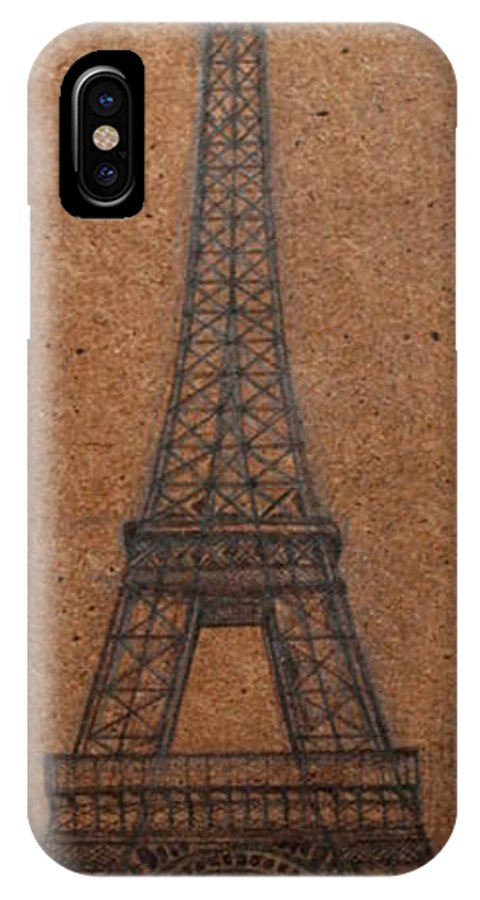 France IPhone X Case featuring the drawing Eiffel Tower by Stacey Sherman