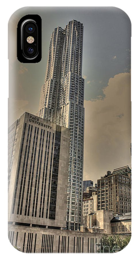New York IPhone X Case featuring the photograph Eight Spruce Street By Gehry by David Bearden