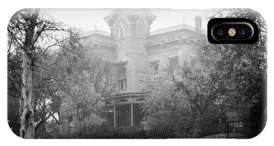 Black And White IPhone X Case featuring the photograph El Castile In Fog by Lezlie Faunce