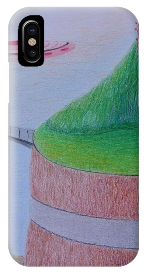 Ufos On Gard IPhone X / XS Case featuring the drawing El Valle by Isaac Leal