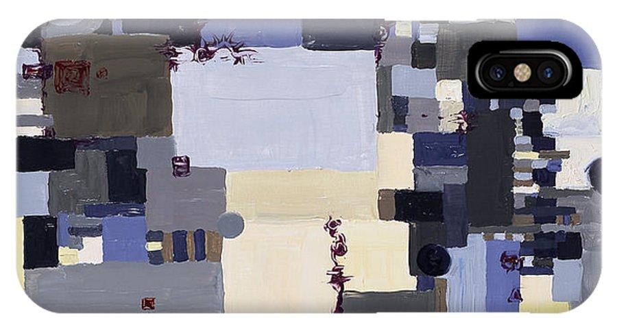 Grid IPhone X Case featuring the painting Elastic Dialog by Regina Valluzzi