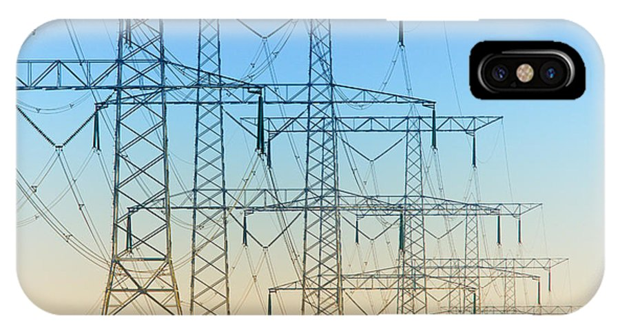 Electricity IPhone X Case featuring the photograph Electricity Pylons Standing In A Row by Nick Biemans