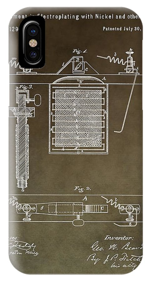 Electroplating Procedure Patent IPhone X Case featuring the mixed media Electroplating Procedure Patent by Dan Sproul