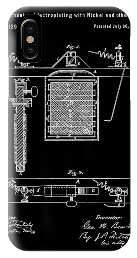 Electroplating Procedure Patent IPhone X Case featuring the mixed media Electroplating With Nickel by Dan Sproul