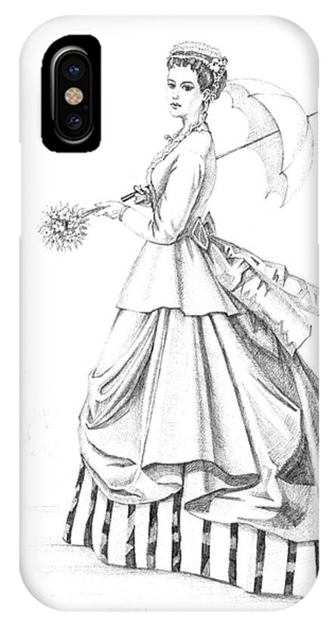 Sketch IPhone X Case featuring the painting Elegant Lady by Margaryta Yermolayeva
