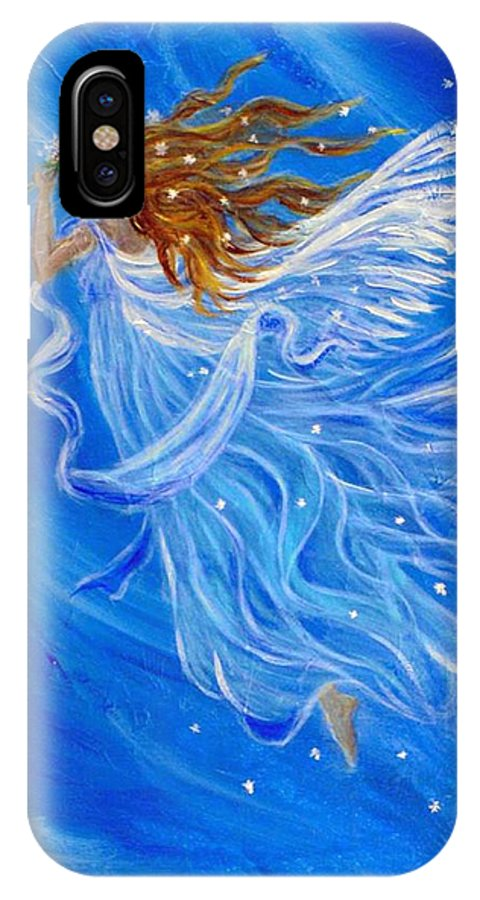 Angel IPhone X Case featuring the painting Elemental Earth Angel Of Wind by The Art With A Heart By Charlotte Phillips