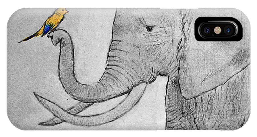 Paper IPhone X Case featuring the drawing Elephant And Friend by Cynthia Porter
