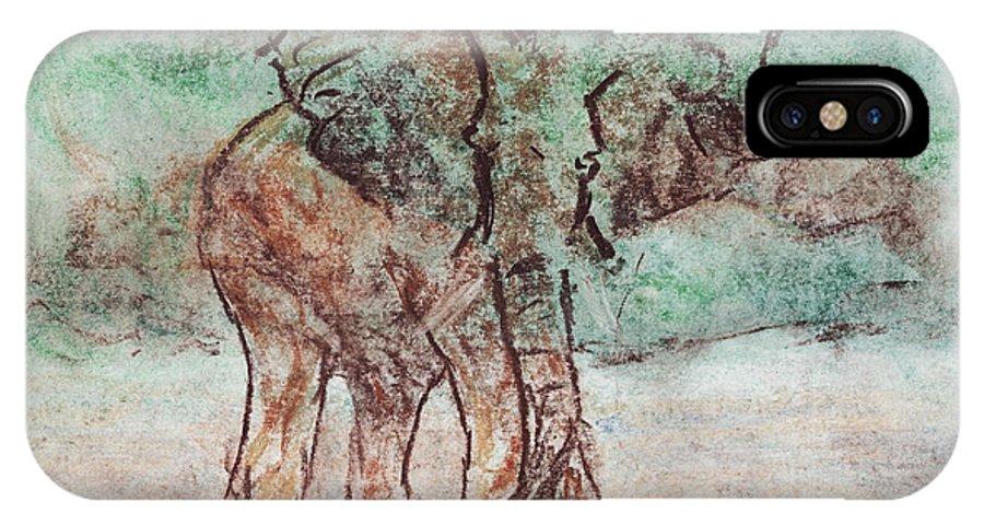 Elephant IPhone X Case featuring the pastel Elephant Bath by Ashley King