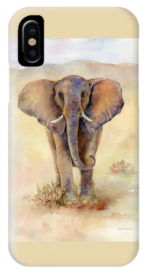 Elephant IPhone X / XS Case featuring the painting Elephant by Amy Kirkpatrick
