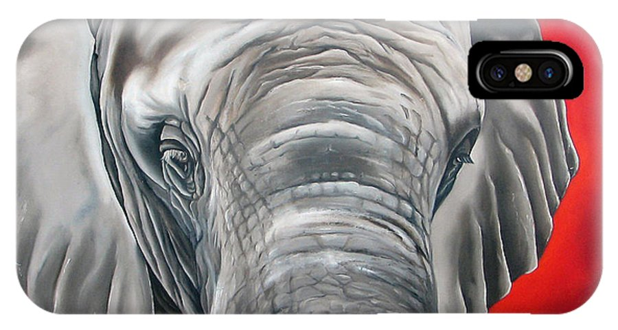 Elephant IPhone Case featuring the painting Elephant Six Of Eight by Ilse Kleyn