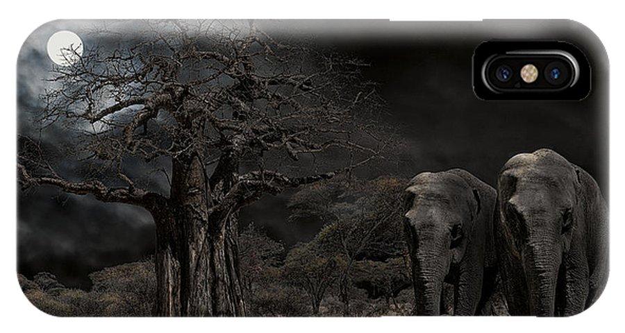 Elephants IPhone X Case featuring the digital art Elephants Of The Serengeti by Daniel Hagerman