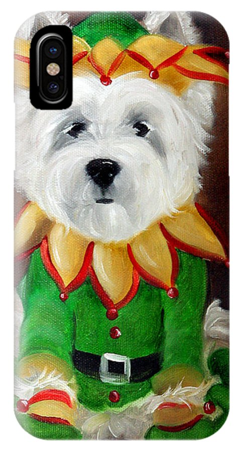 Westie IPhone X Case featuring the painting Elf by Mary Sparrow