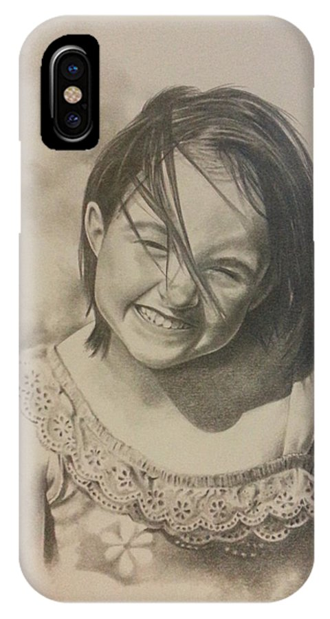 Child IPhone X Case featuring the drawing Elise by James Rodgers