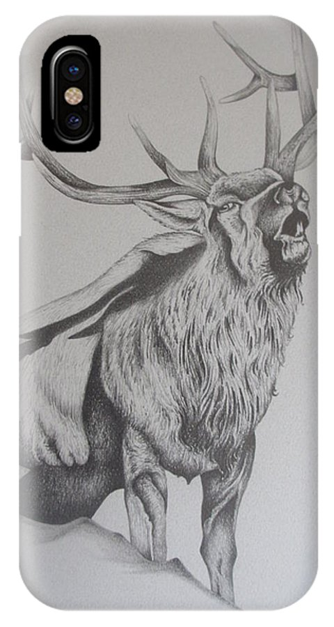 Mountain Elk IPhone X Case featuring the drawing Elk by Pete Garcia