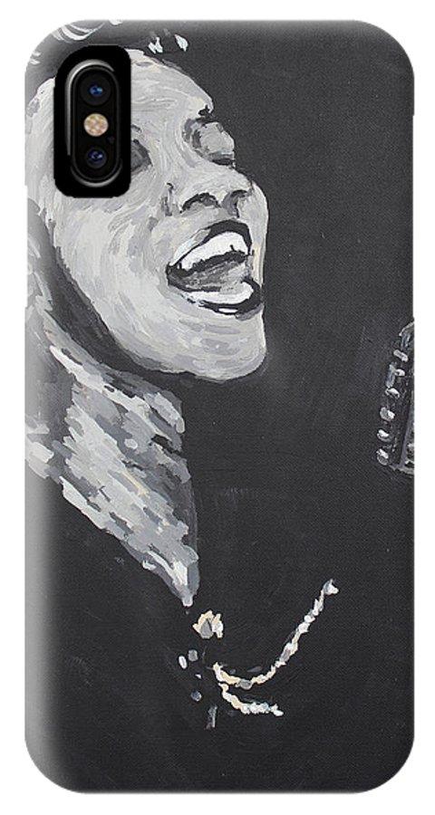 Ella Fitzgerald IPhone X Case featuring the painting Ella Fitzgerald by Bridget Brummel