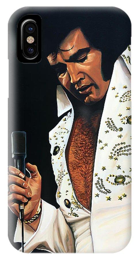 Elvis IPhone X Case featuring the painting Elvis Presley Painting by Paul Meijering