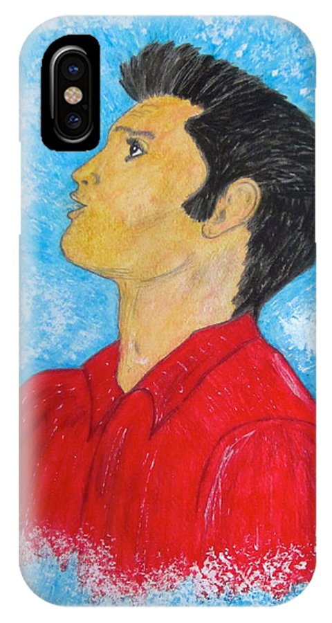 Elvis Presely IPhone Case featuring the painting Elvis Presley Singing by Kathy Marrs Chandler