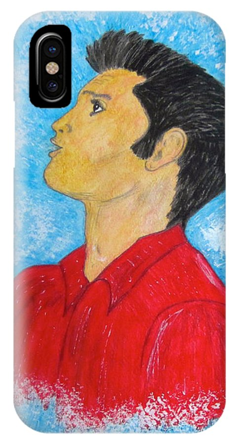Elvis Presely IPhone X Case featuring the painting Elvis Presley Singing by Kathy Marrs Chandler