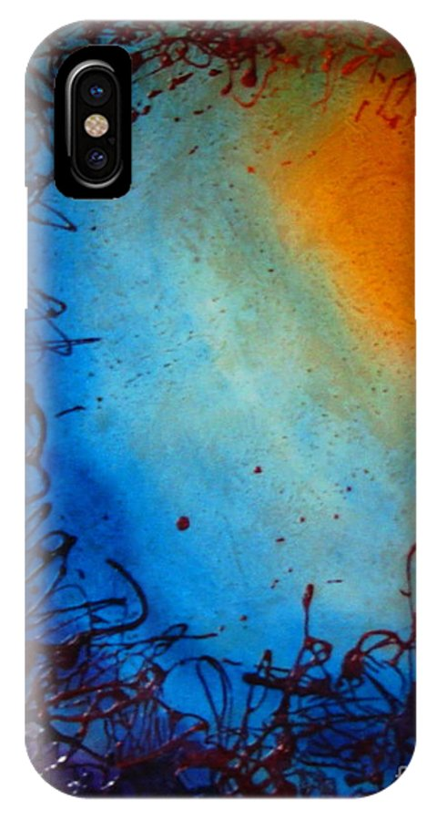 Abstract IPhone X Case featuring the painting Embryonic Journey by Stuart Engel
