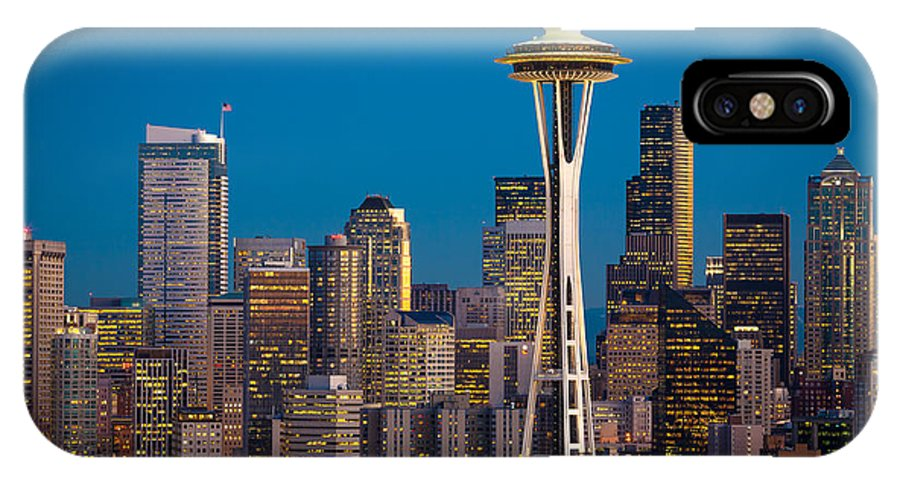 Seattle IPhone X Case featuring the photograph Emerald City Evening by Inge Johnsson