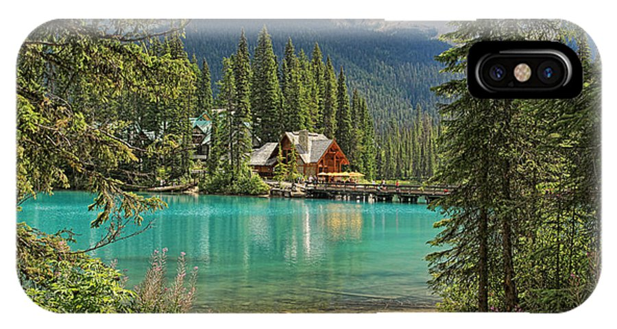 Emerald IPhone X Case featuring the photograph Emerald Lake Lodge by Kerry Gergen