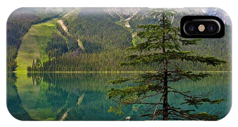 Emerald Lake Reflection And Pine Tree From Trail In Yoho Np IPhone X Case featuring the photograph Emerald Lake Reflection And Pine Tree In Yoho National Park-british Columbia-canada by Ruth Hager