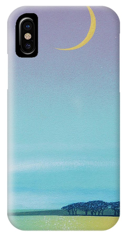 Ocean IPhone X Case featuring the painting Emma's Twilight Moon by Tom Owen