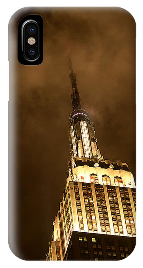 """""""new York City"""" IPhone X Case featuring the photograph Empire Fog by Paul Mangold"""