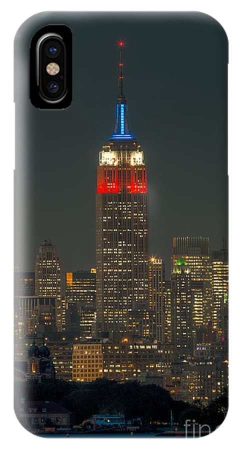 Clarence Holmes IPhone X Case featuring the photograph Empire State Building 911 Tribute by Clarence Holmes