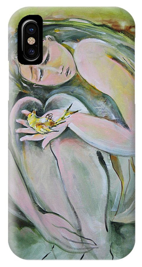 Canary IPhone X Case featuring the painting End Of A Song by Marlene LAbbe