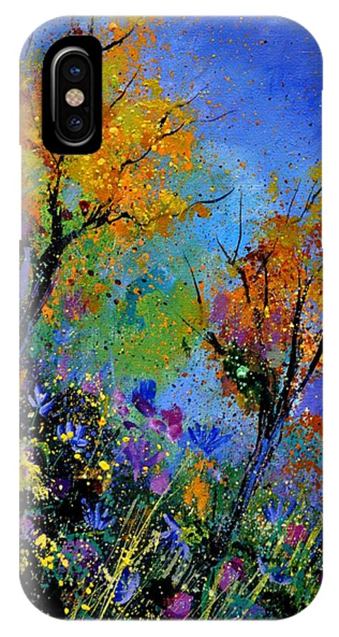 Landscape IPhone X Case featuring the painting End Of Summer by Pol Ledent