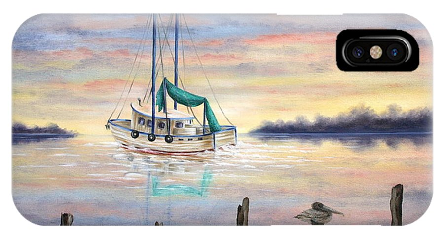 Seascape IPhone X Case featuring the painting End Of The Day by Ruth Bares