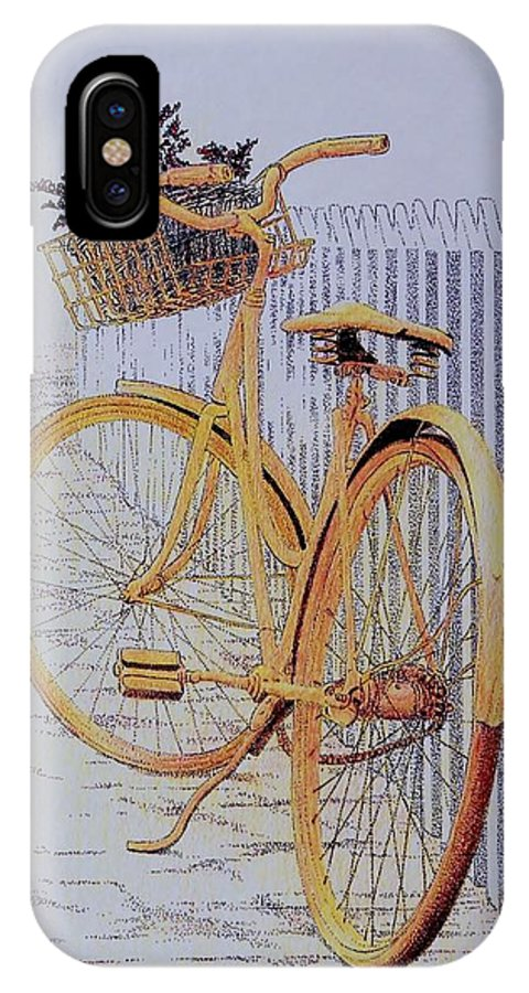 Bicycle Yellow Summer Flowers Plants IPhone X / XS Case featuring the painting Endless Summer by Tony Ruggiero