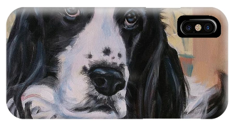 Black And White Dog IPhone X Case featuring the painting English Springer Spaniel by Annie Pierson