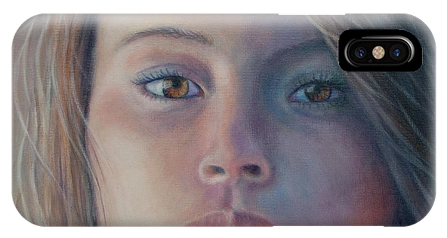 Portrait Of Young Woman IPhone X Case featuring the painting Enigma by Holly Kallie