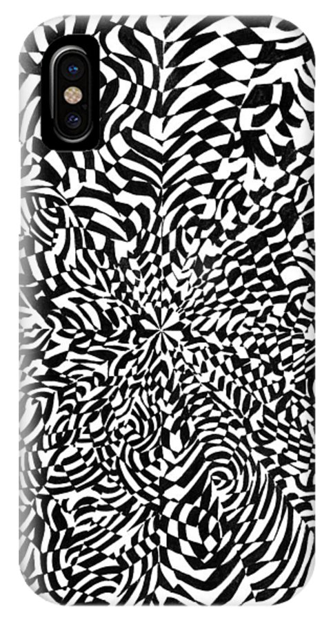 Abstract IPhone X Case featuring the drawing Entangle by Crystal Hubbard