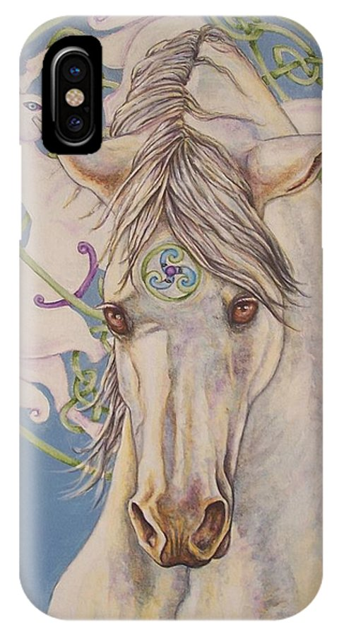 Celtic IPhone X Case featuring the painting Epona The Great Mare by Beth Clark-McDonal