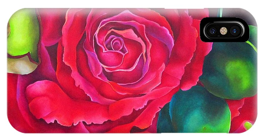 Rose IPhone X Case featuring the painting Escarlata by Elizabeth Elequin