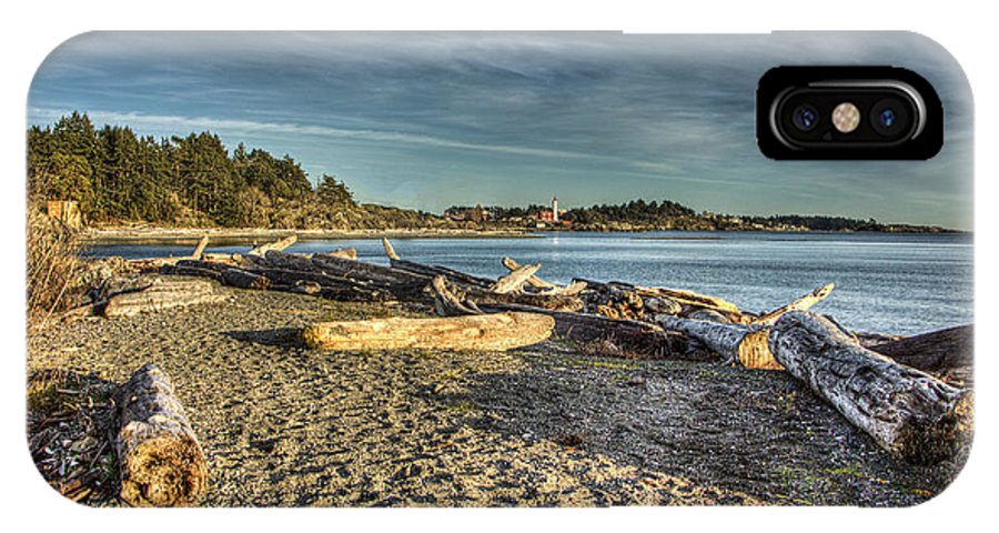 Esquimalt Harbour IPhone X Case featuring the photograph Esquimalt Lagoon - Logs And Beach by Dorothy Hilde
