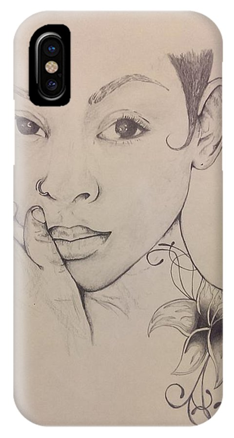 Woman IPhone X Case featuring the drawing Essence Of A Woman by Sam Brown