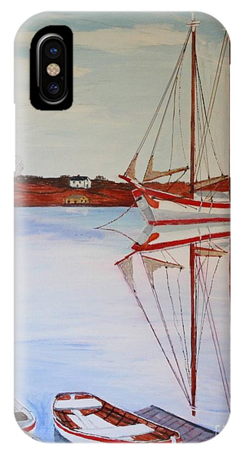 Schooner Ardelle IPhone X Case featuring the painting Essex Harbor Reflections by Bill Hubbard